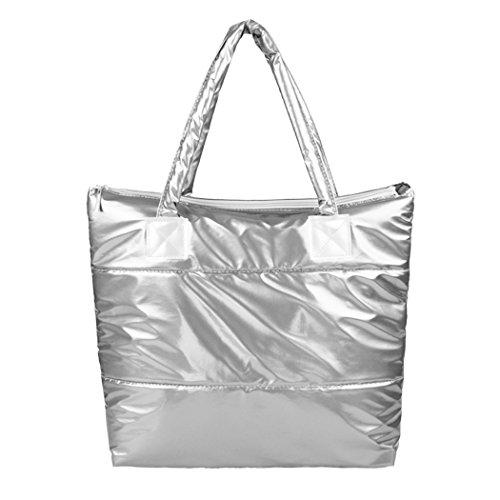 Borsa a mano-borsa a tracolla cotone invernale All4you spazio Bale Totes donne Bag(White)