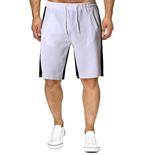 Price comparison product image MOSERIAN Fashion Men's Trousers Casual Sports Jogging Elasticated Waist Shorts Pants Trousers White