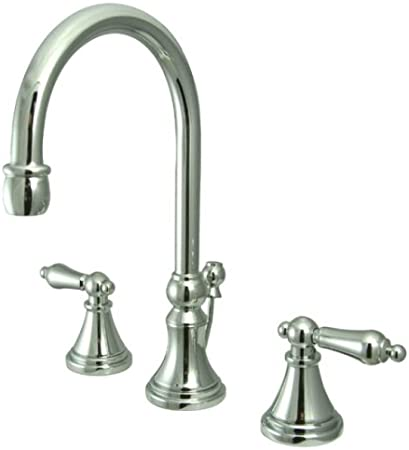 BRUSHED NICKEL GOVERNOR WIDESPREAD LAVATORY FAUCET WITH BRASS POP-UP