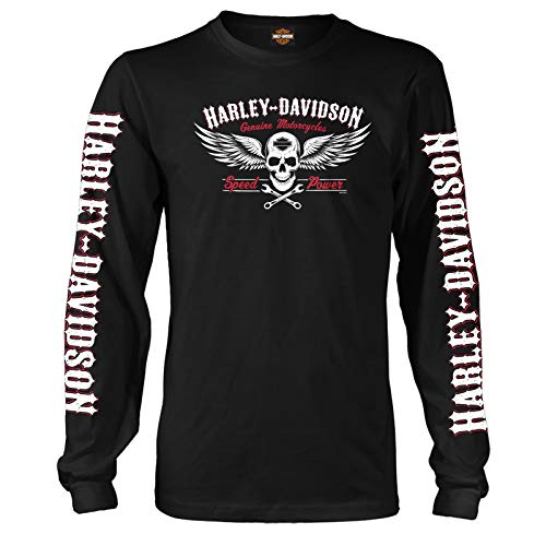 Harley-Davidson Military - Mens Long-Sleeve T-Shirt with Front, Back and Sleeve Graphics and- USAG Stuttgart   Speed Skull