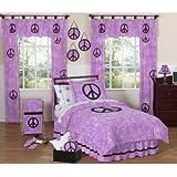 Purple Groovy Peace Sign Tie Dye Children and Kids 3 Piece Full / Queen Girls Bedding Set