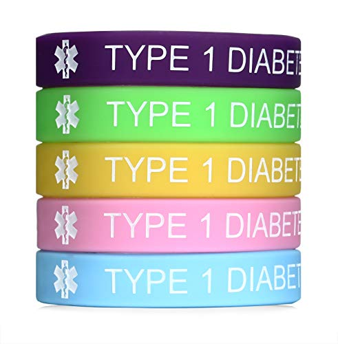 (JF.JEWELRY Type 1 Diabetes Medical Alert Silicone Bracelet for Kids & Women 7.5 inches,Pack of 5)