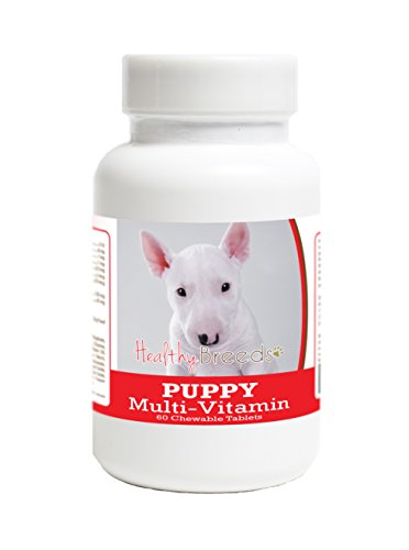 Healthy Breeds Puppy Food Supplement for Bull Terrier - Over 100 Breeds - Veterinarian Formulated Daily Dietary Supplement - Liver Flavored Treats - 60 - Terrier Puppies Bull