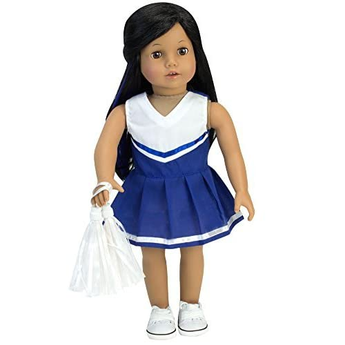 18 Inch Doll Blue Cheerleading 2pc Set Fits 18 Inch American Girl Doll Clothes & More! Two-Piece Blue Cheer Outfit with White Pom-Poms
