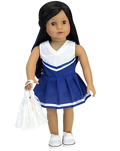 18 inch doll Blue Cheerleading Dress 2pc Set Fits 18 Inch American Girl Dolls & More! Two-Piece Blue Cheer Outfit with White Pom-Poms
