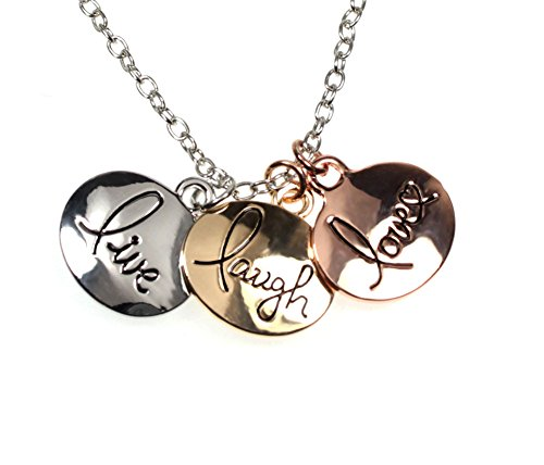 LIVE LAUGH LOVE Three-tone Heart Three Charm Message Necklace in Gift Box