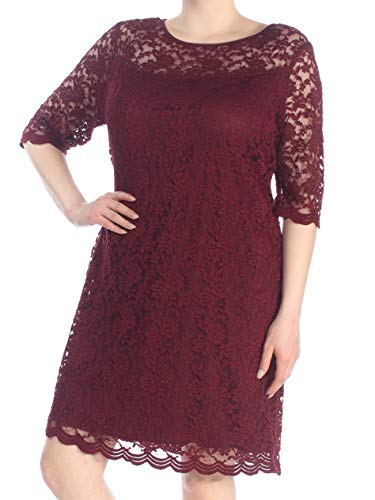 CONNECTED $99 Womens New 1324 Burgundy Lace 3/4 Sleeve Shift Dress 18W Plus B+B Connected Apparel 3/4 Sleeve