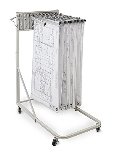 Adir Corp. Vertical File Rolling Stand for Blueprints- Plans, Sand Beige with 12 24