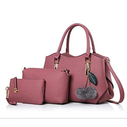 QZTG sac à main Sacs pour Femmes PU Set Set 3 Pcs Porte-Monnaie Set Plumes Fourrure Noir Blushing Pink Grey Sacs À Main Fourre-Tout De Grande Capacité Rougir