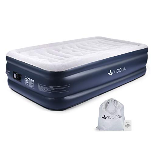 VICOODA Twin Air Mattress, Air Bed for Camping and Home Use, No Leak, Inflatable Single Airbed Blow up Guest Bed Camping Tent Mattress Pillow Rest Raised Airbed w Built-in Rechargeable Pump, 18 Inch