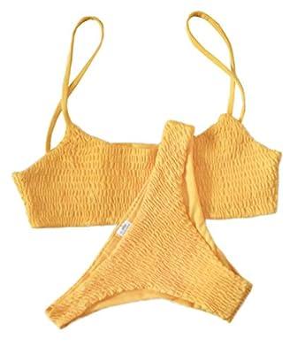 Mumentfienlis Women's Two Piece Solid Color Bikini Swimsuit