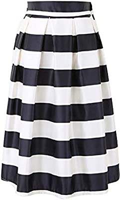 Falda Larga para Mujer Cintura Alta Rayas Faldas Blanco Negro ...