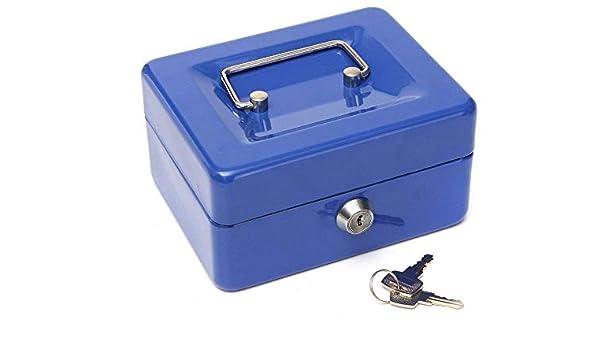 Caja metálica de seguridad para dinero en efectivo, color azul, 150 x 120 x 80 mm: Amazon.es: Oficina y papelería