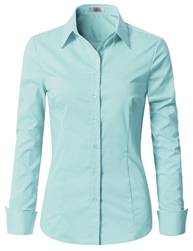 EZEN Womens Cheap Fitted Dress Shirts Sky Blue 2XL