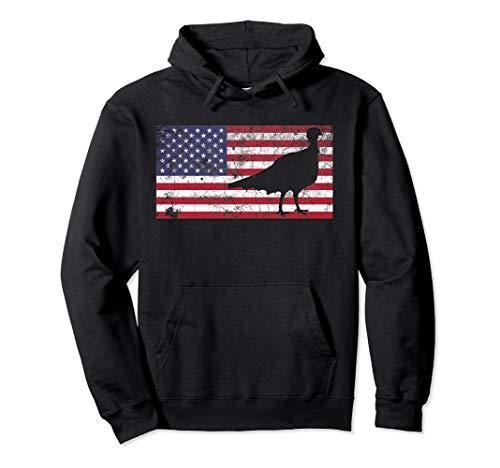 Turkey American - Turkey Hunting Hoodie American Flag USA Hunter Dad Men Gift