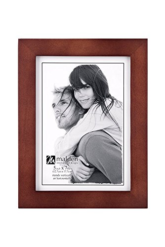 Malden 5x7 Picture Frame - Wide Real Wood Molding, Real Glass - Dark -