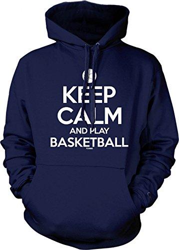 Keep Calm and Play Basketball Men's Hoodie Sweatshirt (Small, Navy Blue)
