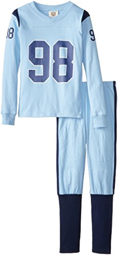 Wes Willy Pants Boys And (Wes & Willy Boy's Long Sleeve 98 Football Pajama Set, NC Blue, 14)