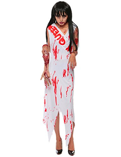 [VintageRose Women Adult Dead Zombie Prom Queen Halloween Costume Fancy Party Dress Set] (Zombie Queen Costumes)