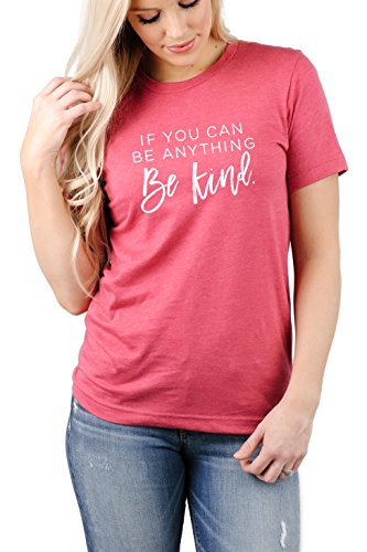 If You Can Be Anything Be Kind-Teacher Life Graphic Tee Shirt-Raspberry Crew-White Ink-Large
