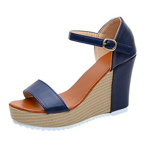 TANGSen Women Casual Wedge Summer Fashion Buckle Strap High Heel Platform Peep Toe Shoes Outdoor Sandals Blue