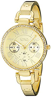 XOXO Women's XO5756 Rhinestone-Accented Gold-Tone Stainless Steel Bangle Watch