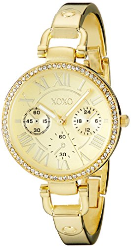 XOXO Women's XO5756 Rhinestone-Accented Gold-Tone Stainless Steel Bangle Watch ()