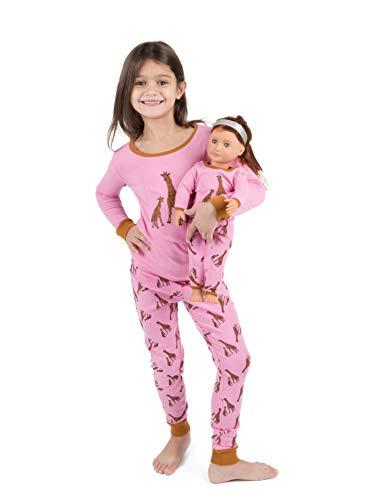 Leveret Kids Pajamas Matching Doll & Girls Pajamas 100% Cotton Pjs Set (Giraffe,Size 10 ()