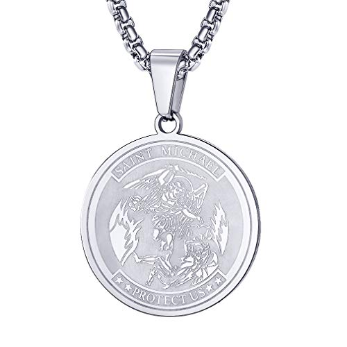 (FaithHeart Saint Michael Pendant Necklace, St. Michael The Archangel Necklace Jewelry (Round/Silver) )