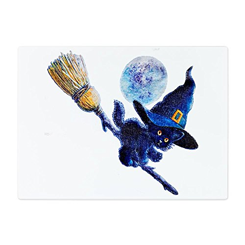 [Glass Cutting Board Large Halloween Kitten Witch Broom Moon] (Cat Makeup Halloween)