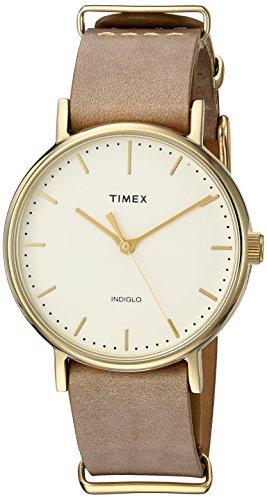 Timex Unisex TW2P98400 Fairfield 37 Taupe Leather Slip-Thru Strap Watch
