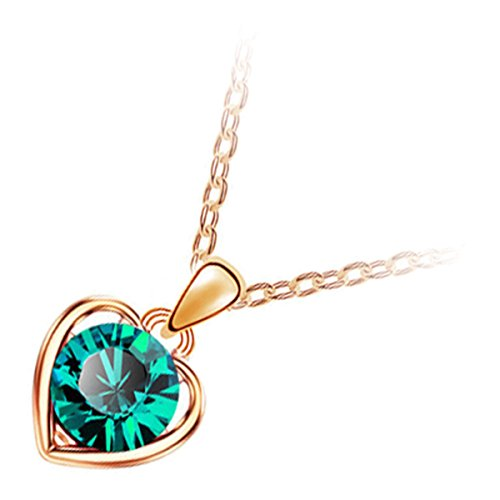 GWG 18K Gold Plated Emerald Green Round Cut Cristal Shaped in Heart Pendant Necklace for Women