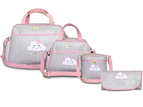 Kit Bolsas Maternidade 4 peças Chuva de Amor BBkits (Rosa Bebê)