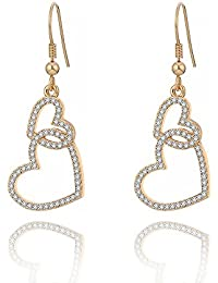 Dangle Earring for Women,Heart Drop Earring Girls Vintage Earring Gold and Silver Earring with Crystal