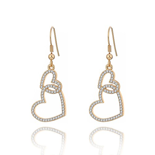 Dangle Earring for Women, Heart Drop Earring Girls Gold or Silver Earring Anti-allergy Stainless Steel Earring with CZ Crystal (Gold Plated Linked Heart)