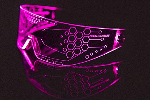 Neon Nightlife LED Light Up Glasses, Single Lens Tron Style, ()