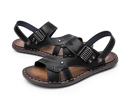 Vestir Cuero Chanclas Resistentes Zapatillas de Desgaste Doble de de de Uso Chanclas Zapatillas Black Verano Playa de Chancletas Al de DANDANJIE Cuero g6Xd7wqX