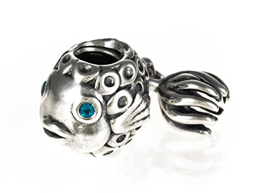 Silver Topaz Angel Fish Bead Highest Quality Charm Sterling Tone Fits Pandora & Similar Bracelets