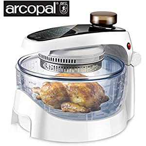 SANHOYA Convection Oven, French Arcopal Glass Bowl with Spray Function, Air Fryer with 17L Oilless Cooker, LCD Digital Touch Screen, Stainless Steel Extender Ring, Recipe Book, 2-Year Warranty, UL
