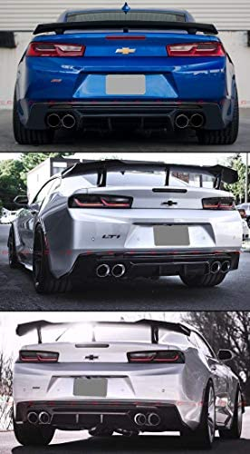 Fits for 2016-2019 Chevy Camaro LT SS ZL1 Glossy Black Shark Fin Rear Bumper Diffuser Smoked Tinted Reflector Lens