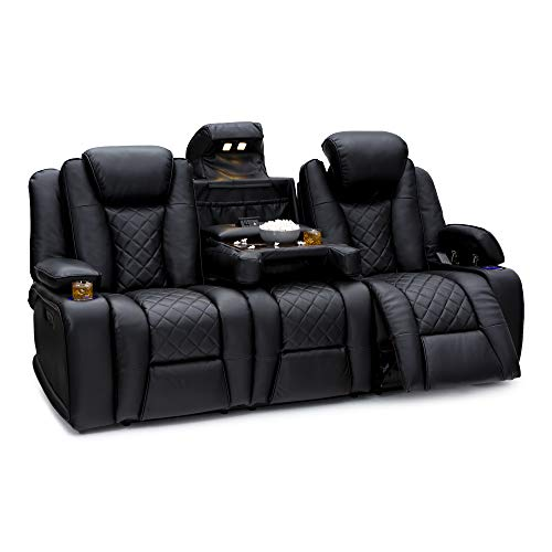 - Seatcraft Europa Home Theater Seating Sofa - Leather Gel - Power Recline - Adjustable Powered Headrest - Fold-Down Table - in-Arm Storage - AC USB Wireless Charging - Lighted Cup Holders - Black