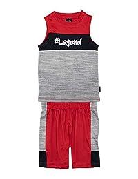 Conjunto de gimnasia sin mangas con estampado atlético y pantalón corto sin mangas para niños de Spalding