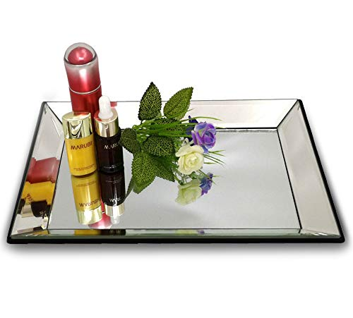 meetart Rectangle 21x30 cm Vanity Organizer Decorative Mirror Tray Vanity Tray Markup Jewelry Tray Silver Tray for Home Decor (Tray Rectangle Vanity)