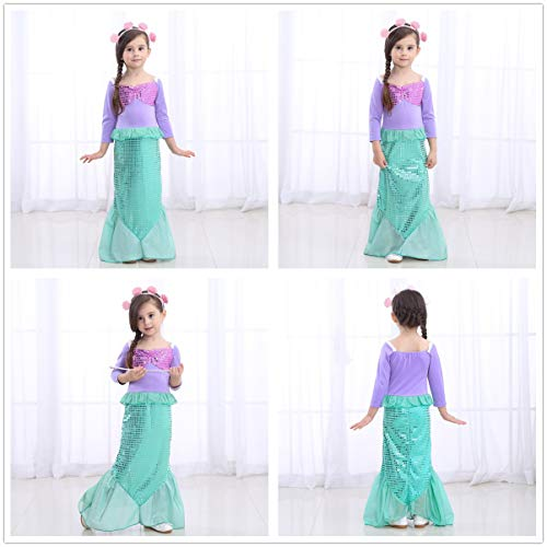 Girls Little Mermaid Costume Princess Dress Up For Birthday with Accessories(Crown+Wand) 4T 5T(110cm) by Party Chili (Image #3)