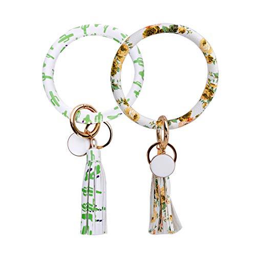 - 2Pcs Big O Bangle Keychain Keyring - Large Wrist Leather Tassel Bracelet Key Holder Key Chain Key Ring By Coolcos Flower SeT(Daisy & Cactus)