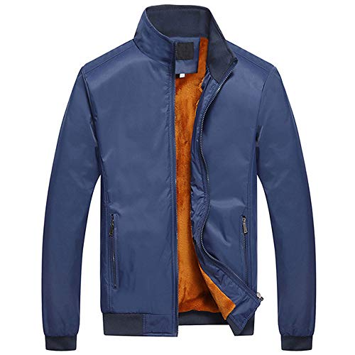 EWQ Ever Winter Casual Thick Jacket for Men Stand Collar Men's Fleece Coat Warm Double Layer Windbreaker Blue