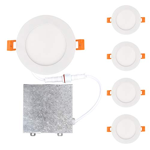 OSTWIN 4 inch 12W (60 Watt Repl.) IC Rated LED Recessed Low Profile Slim Round Panel Light with Junction Box, Dimmable, 5000K Daylight 900 Lm.No Can Needed (4 Pack) ETL & Energy Star Listed