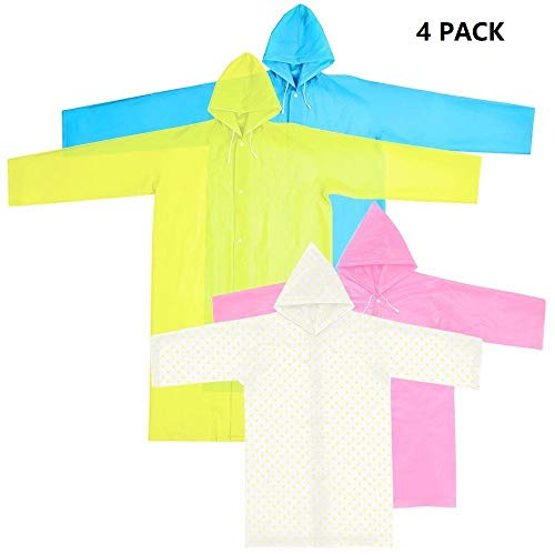 Keklle 4 Pack Family Combo Rain Ponchos with Hood and Sleeves,Emergency Rain Poncho for Adults & Kids,Resuable Raincoats for Camping,Hiking,Traveling,Backpacking