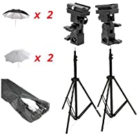 CowboyStudio Doulbe Off-Camera Flash Shoe Mount Swivel Umbrella Kit for Select Nikon/Canon Models