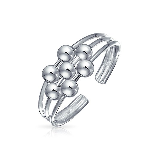 Bali Style Ball Bead Midi Split Wire Band Toe Ring 925 Silver Sterling Adjustable -